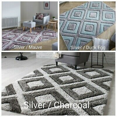 Quality Soft Heavy Thick Velvet 3D Diamond Fluffy Shaggy Rug Hand Tufted Carpet