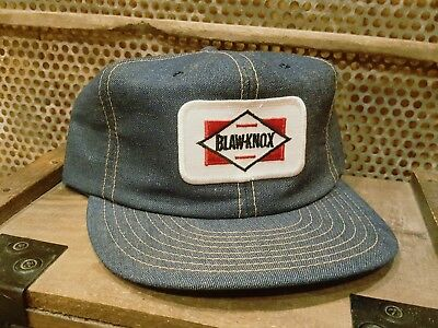 Vintage BLAW - KNOX Denim Snapback Patch Trucker Hat LOUISVILLE MFG MADE IN USA