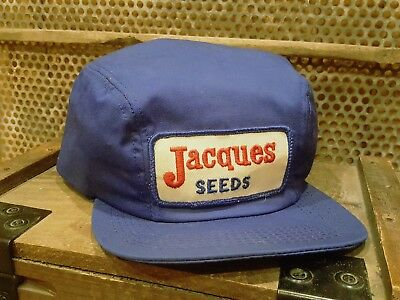 Vintage JACQUES SEEDS Winter Cap Flaps Snapback Patch Trucker Hat Farm AG