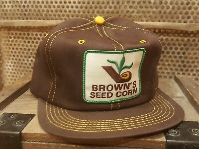 Vintage BROWN'S SEED CORN Snapback Trucker Hat Cap Patch K BRAND MADE IN USA
