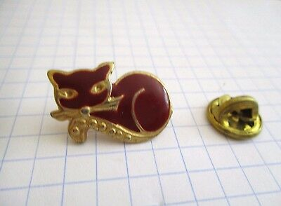 PINS CHAT ROUGE DORE VINTAGE PIN'S wxc 33