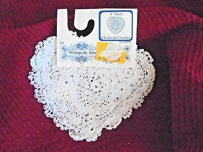 "Wimpole Street Creations White Crochet Lace Doily Hearts 2 Pack 4"" NEW"