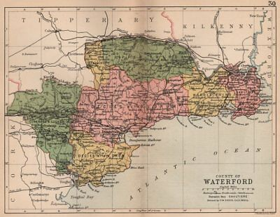 COUNTY WATERFORD. Antique county map. Munster. Ireland. BARTHOLOMEW 1882