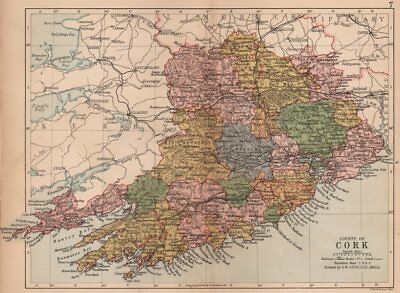 COUNTY CORK. Antique county map. Munster. Ireland. BARTHOLOMEW 1882 old