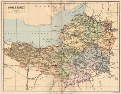 SOMERSET. Antique county map 1893 old vintage plan chart
