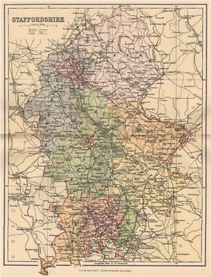 STAFFORDSHIRE. Antique county map 1893 old vintage plan chart