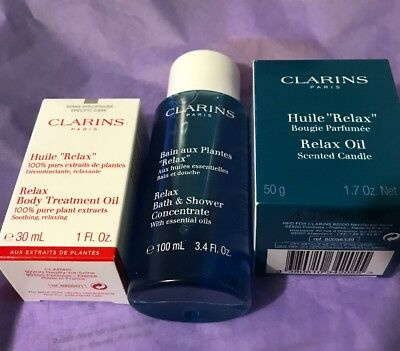Clarins Relax Bath and Body Set 3 pieces brand new in a bag - gel, oil + candle