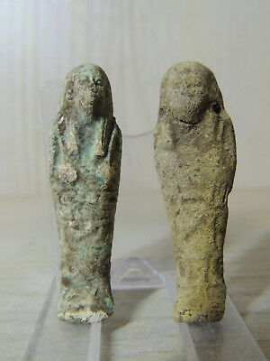 Superb Ancient Pair Of Egyptian Stone Faiance Shabti ,mummy Figures Ushabti