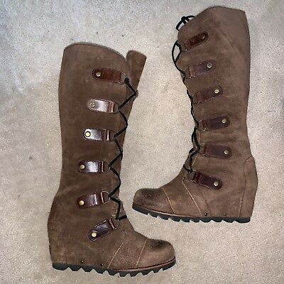 a6921011525b Sorel Cate the Great Wedge Brown Boot Sz 8 EUC Tall Lace Boots Joan Arctic