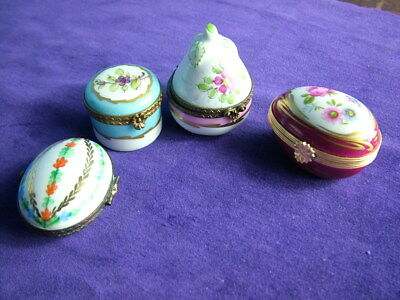 Vintage collection of four French porcelain trinket / pill / patch boxes by Limo