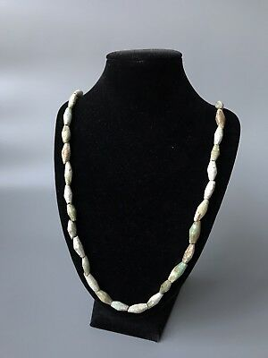Ancient  Egyptian Pale Green-White Faience Elongated & Faceted Beads Necklace