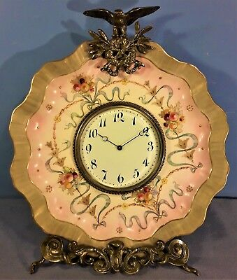 Antique French Porcelain Plate and Brass Strut Clock by E.G.L.