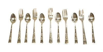 11pc Japanese 950 Sterling Silver Fork & Spoon Set, 20th Century