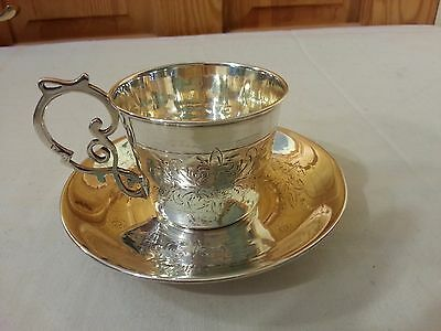 1869 Russian Antique Imperial Silver 84 Gilt Tea/coffee Cup&saucer Savinsky Mosc
