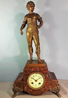 Antique French Marble Clock with Spelter Sculpture, Movement R. Japy & Cie 1873