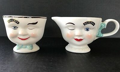 Bailey's Winking Creamer And Sugar Bowl 1996 Collectible Set