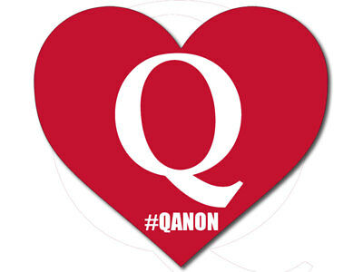 4x4 inch RED Heart Shaped with Q #Qanon Sticker (q anon trump great awakening)