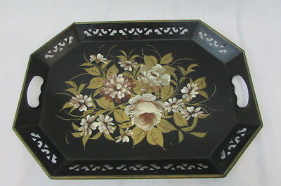 Vtg Hand Painted Floral Tole Metal Tray Cut Out Edges With Handles. 18'' X 13''.
