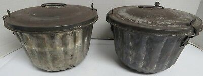 Lot of two Vintage Antique Tin Pudding Mold/Steam Mold with Lids Free Shipping