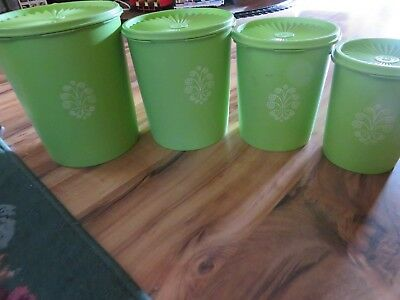 Vintage Tupperware Servalier Apple Lime Green Set Of Four Nesting Containers.