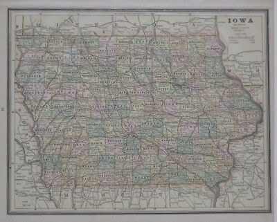 Original 1888 County Map IOWA Sioux City Des Moines Ames Burlington Railroads