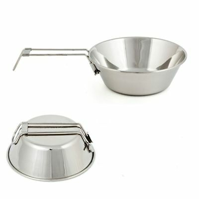 Portable Camping Picnic Cookware Stainless Steel Cooking Hiking Bowl Pot Pan