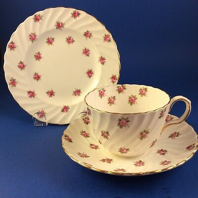 Aynsley Hathaway Bone China Swirl Tea Cup and Saucer Trio