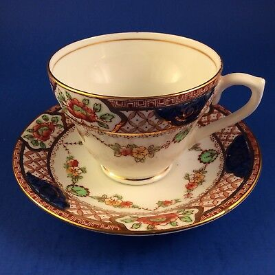 Sutherland Imari Style Orange And Black Floral Tea Cup And Saucer
