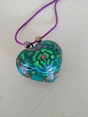 Oaxacan heart necklace- Mexican folk art- Oaxaca Mexico Frida Kahlo style