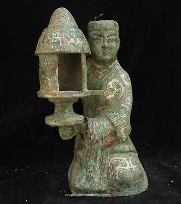Certified Chinese  Ancient Bronze WareMan holding Candlestick teapot box Statue