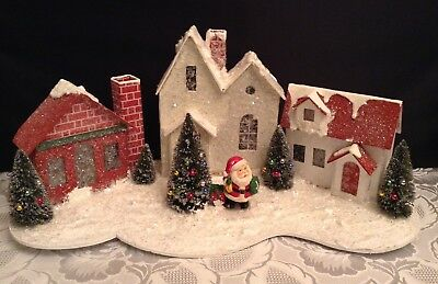 Vintage Large Christmas Cardboard Putz Mica Village Houses with SANTA - 1950's