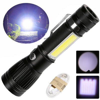 4 Modes Zoomable T6 COB LED Flashlight USB Rechargeable Torch 18650 Light Lamp