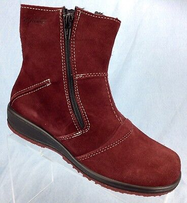 aa0d336cb Martino Canada Shirley Burgundy Red Suede Ankle Boots Zip Womens shoe sz 8