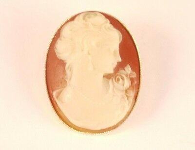 Vintage Lady Face Cameo Gold tone Oval Brooch