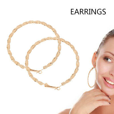 Large Gold Plated Hoop Earrings Circle Creole Chic Hoops Earring Womens Fashion