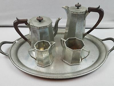 Vtg Arts and Crafts Hand Hammered Tudric Liberty & Co. Craftsman Pewter Tea Set