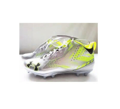 New Mens Under Armour Ripshot Mid MC Lacrosse Cleats Silver/Vis Yellow Sz 9.5 M