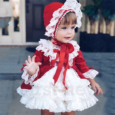 Girls Birthday Wedding Lace Dress Spanish Skirt Bow Princess Pageant Court Dress