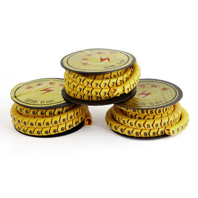 3 Rolls Yellow Soft PVC Arabic Number 5-7 6mm2 Wire Cable Marker