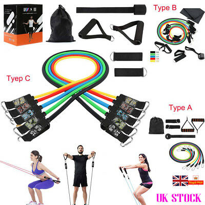 Resistance Bands Workout Exercise Yoga 11 Piece Set Crossfit Fitness Tubes Sport