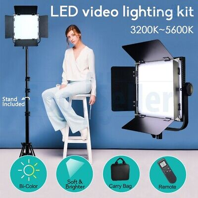 2 Pack Dimmable Bi-Color Led Video Light+Stand+Filters Photo Studio Lighting Kit