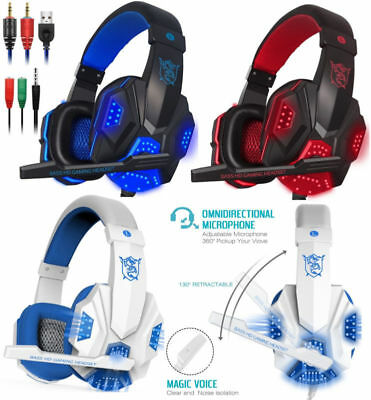 Cuffie Gaming per PS4 PC MAC NUOVA XBOX ONE, LED USB Con Microfono Volume Gamer