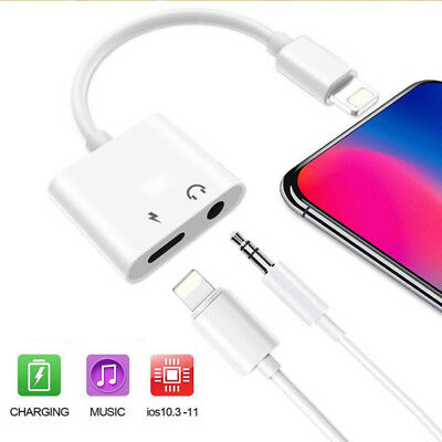 For iPhone X 8 7 XR 3.5mm+ Aux Splitter Audio Headphone Charge Cable Adapter