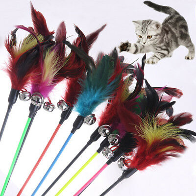 Colorful Feather Cat Toys With Small Bell Random Color Cat Wand Stick 1PC