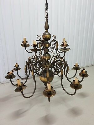Large Dutch Bronze Chandelier