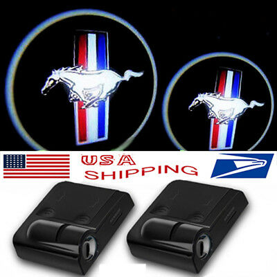 2 X Wireless  Welcome Ghost Lights for Mustang LED Courtesy Car Door Step Laser