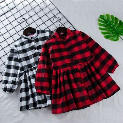 Toddler Kids Long Sleeve Plaid Dress Baby Girls Pageant Party Casual Dresses AU