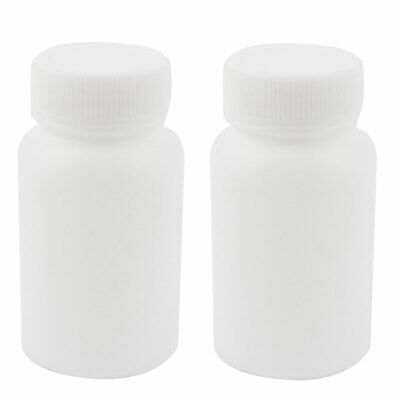 2Pcs 100ML Wide Mouth Graduated Lab Chemical Capacity Storage Bottle White