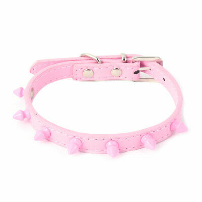 Pet Puppy PU Leather Spike Rivets Studded Adjustable Buckle Neck Strap Collar