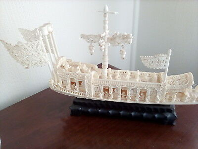 Detailed boat on timber base